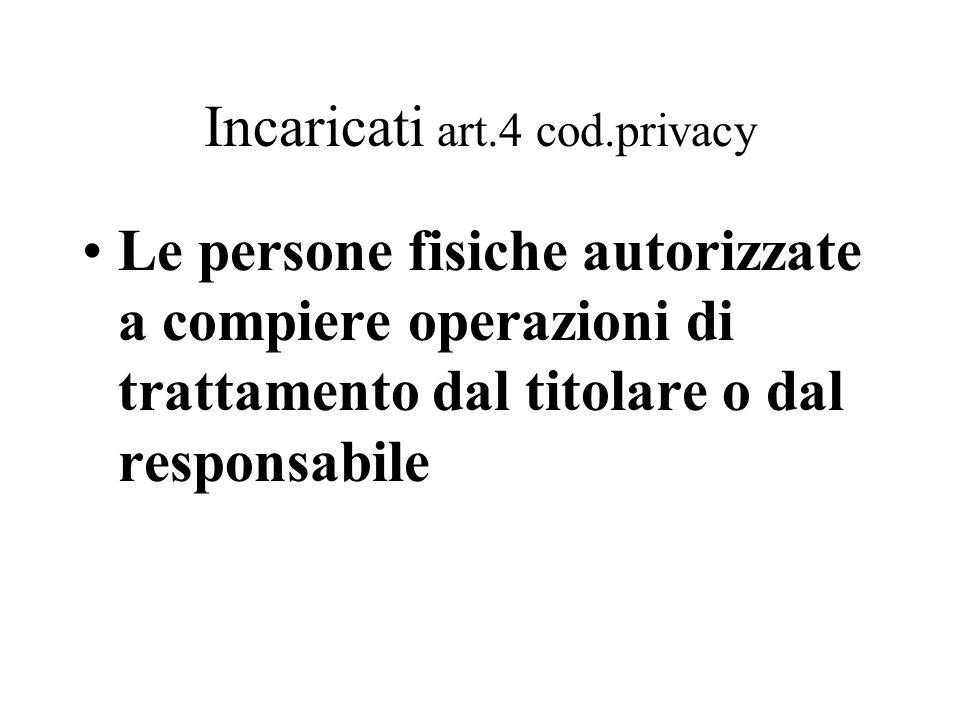 Incaricati art.4 cod.privacy