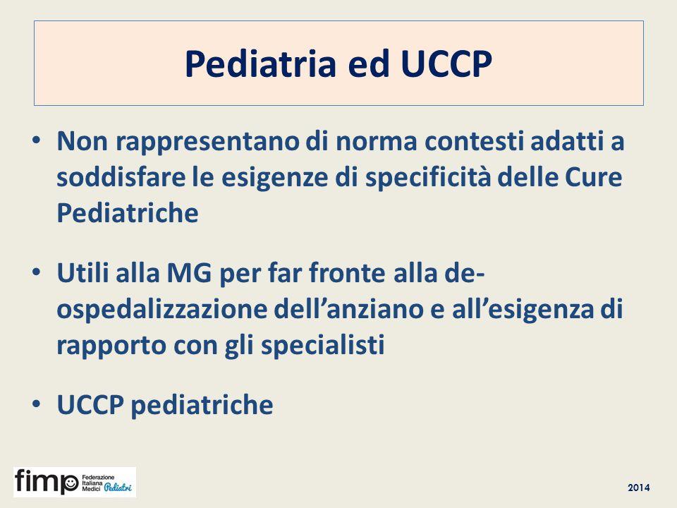 Pediatria ed UCCP Non rappresentano di norma contesti adatti a soddisfare le esigenze di specificità delle Cure Pediatriche.