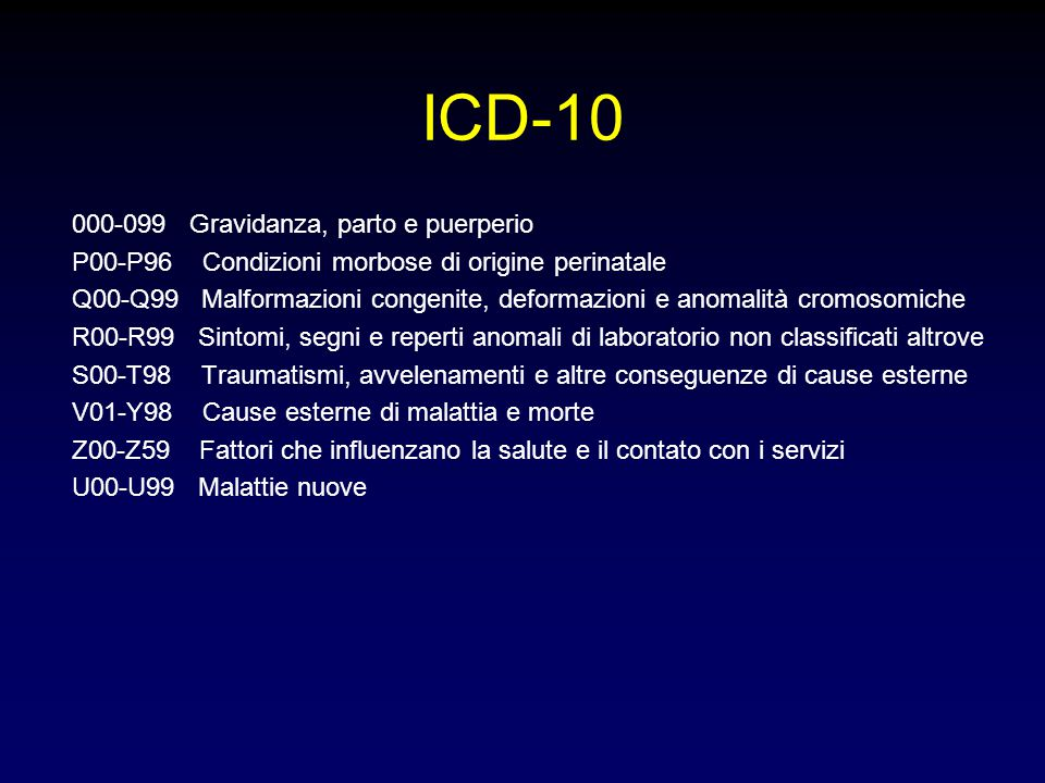 ICD-10 000-099 Gravidanza, parto e puerperio
