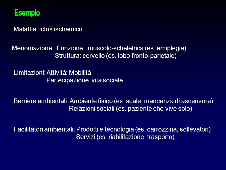 Esempio Malattia: ictus ischemico. Menomazione: Funzione: muscolo-scheletrica (es. emiplegia) Struttura: cervello (es. lobo fronto-parietale)