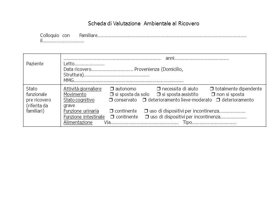 Scheda di Valutazione Ambientale al Ricovero