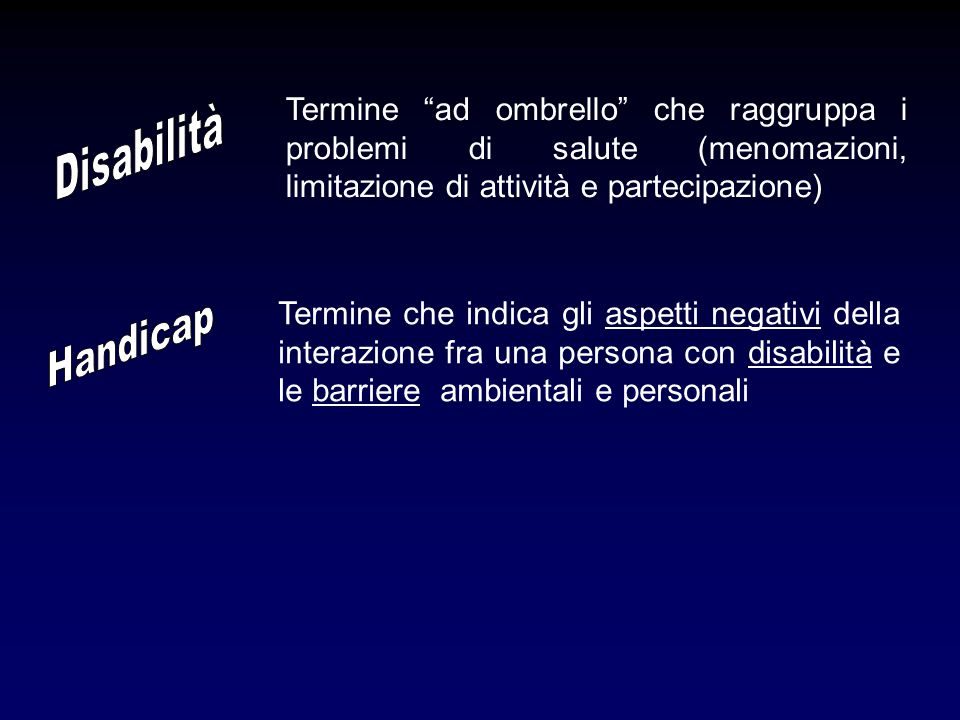 Termine ad ombrello che raggruppa i problemi di salute (menomazioni, limitazione di attività e partecipazione)