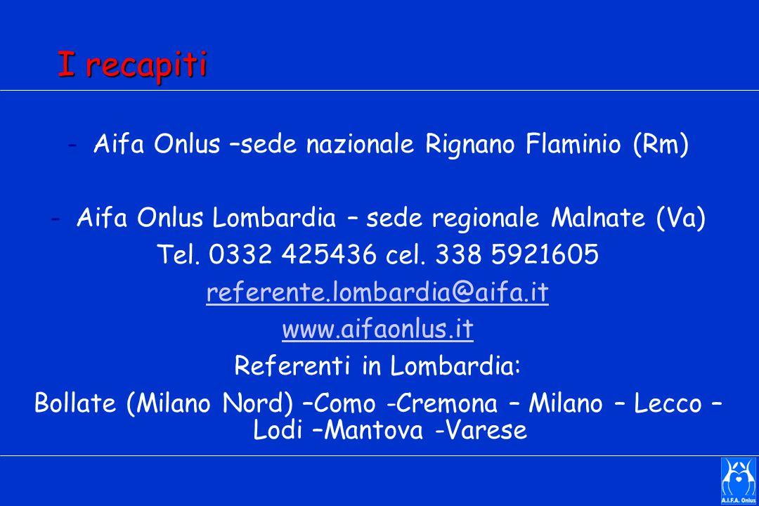 I recapiti Aifa Onlus –sede nazionale Rignano Flaminio (Rm)