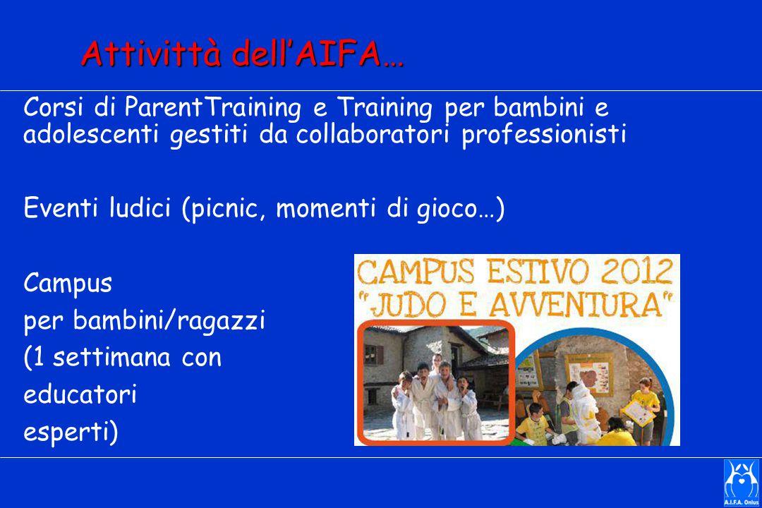 Attivittà dell'AIFA… Corsi di ParentTraining e Training per bambini e adolescenti gestiti da collaboratori professionisti.