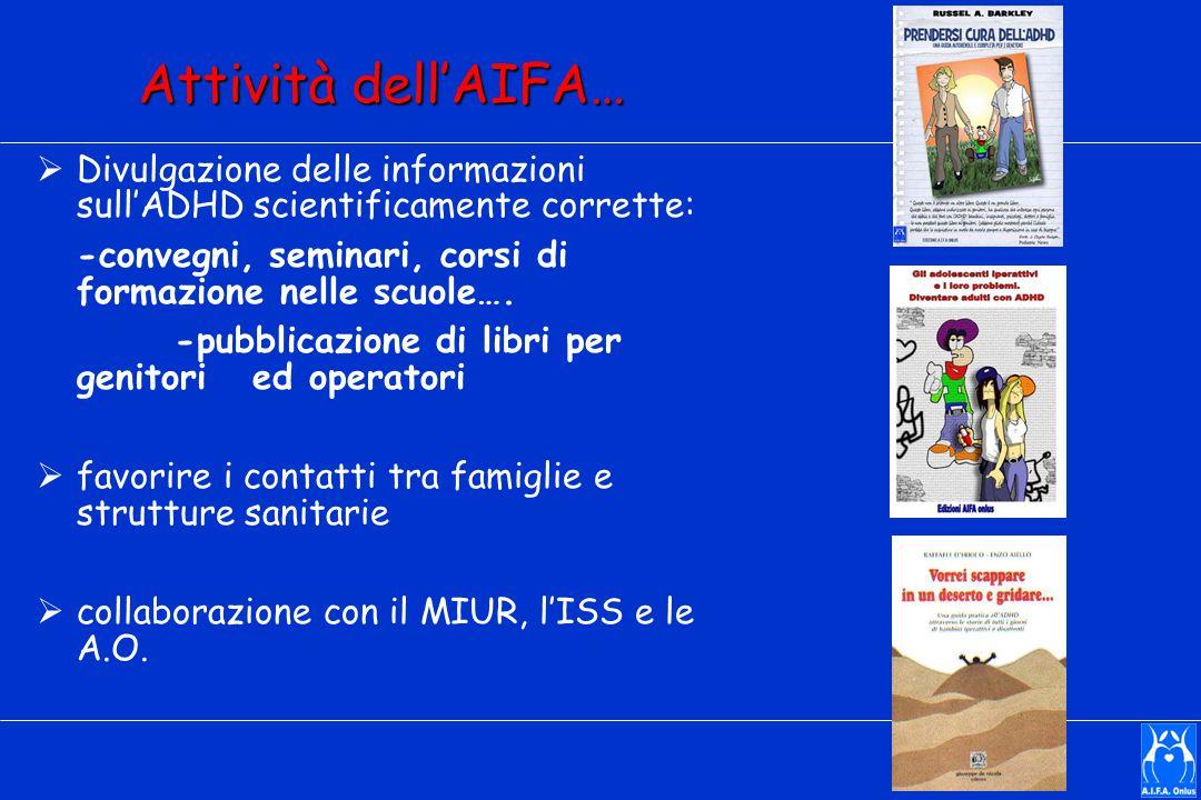 Attività dell'AIFA… Divulgazione delle informazioni sull'ADHD scientificamente corrette: -convegni, seminari, corsi di formazione nelle scuole….
