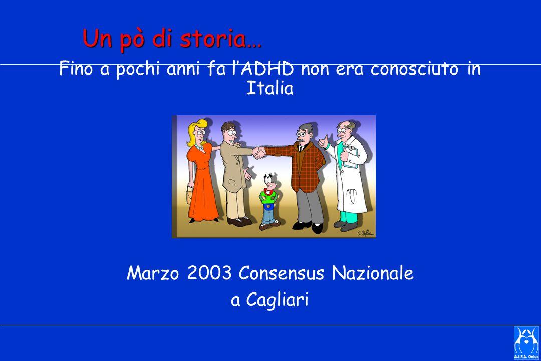 Un pò di storia… Fino a pochi anni fa l'ADHD non era conosciuto in Italia. Marzo 2003 Consensus Nazionale.