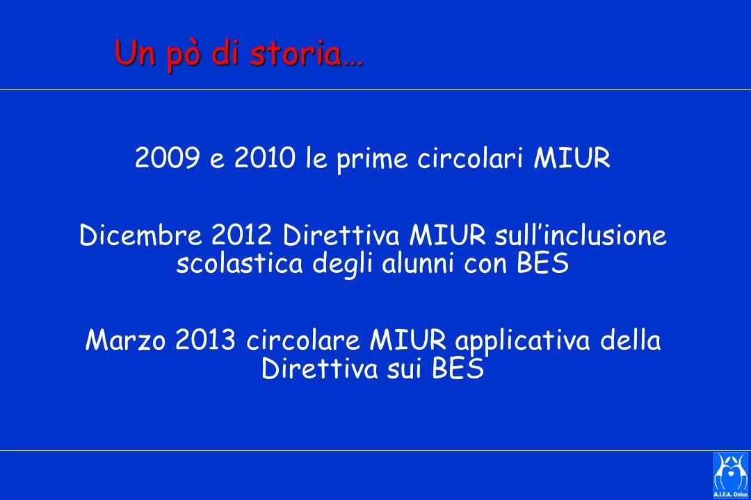 Un pò di storia… 2009 e 2010 le prime circolari MIUR