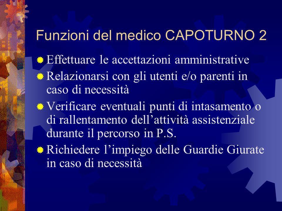 Funzioni del medico CAPOTURNO 2