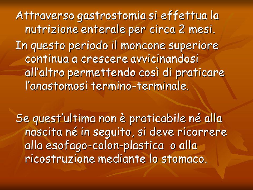 Attraverso gastrostomia si effettua la nutrizione enterale per circa 2 mesi.