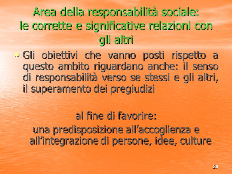 Area della responsabilità sociale: le corrette e significative relazioni con gli altri