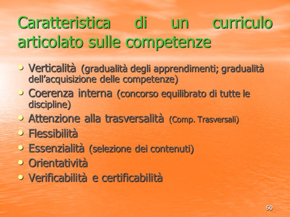 Caratteristica di un curriculo articolato sulle competenze