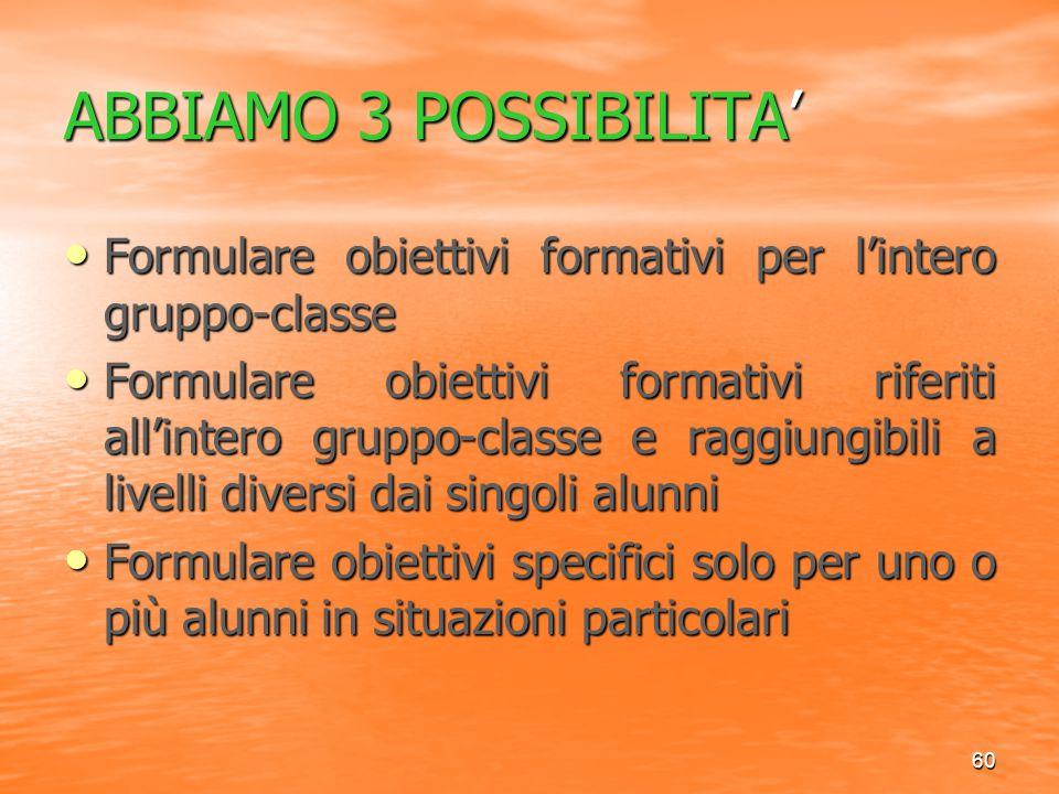 ABBIAMO 3 POSSIBILITA' Formulare obiettivi formativi per l'intero gruppo-classe.