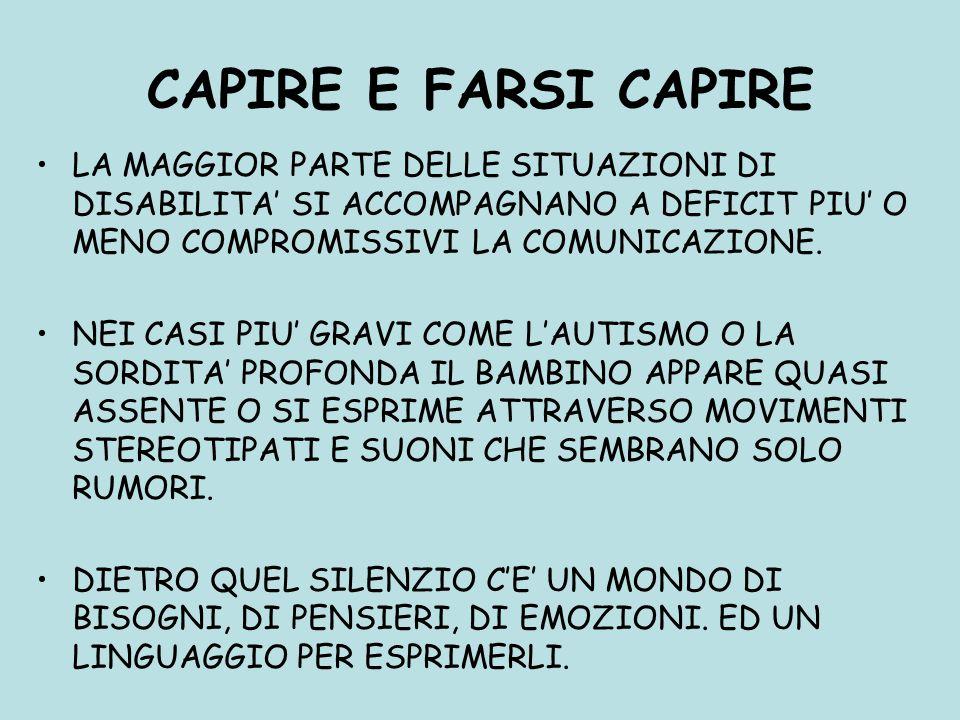 CAPIRE E FARSI CAPIRE LA MAGGIOR PARTE DELLE SITUAZIONI DI DISABILITA' SI ACCOMPAGNANO A DEFICIT PIU' O MENO COMPROMISSIVI LA COMUNICAZIONE.