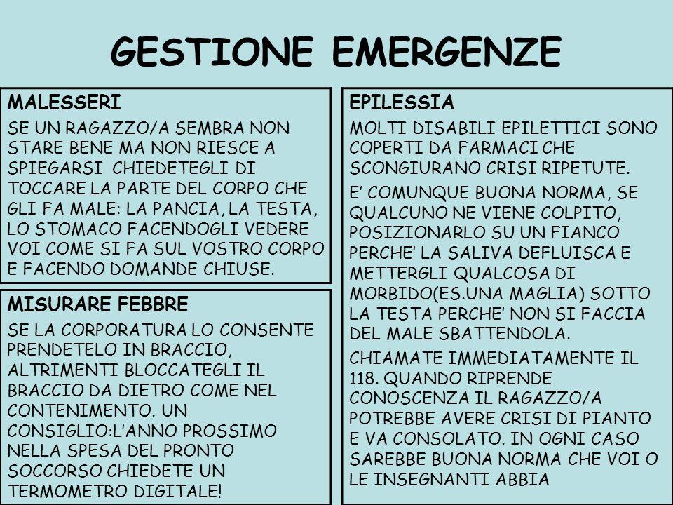 GESTIONE EMERGENZE MALESSERI EPILESSIA MISURARE FEBBRE