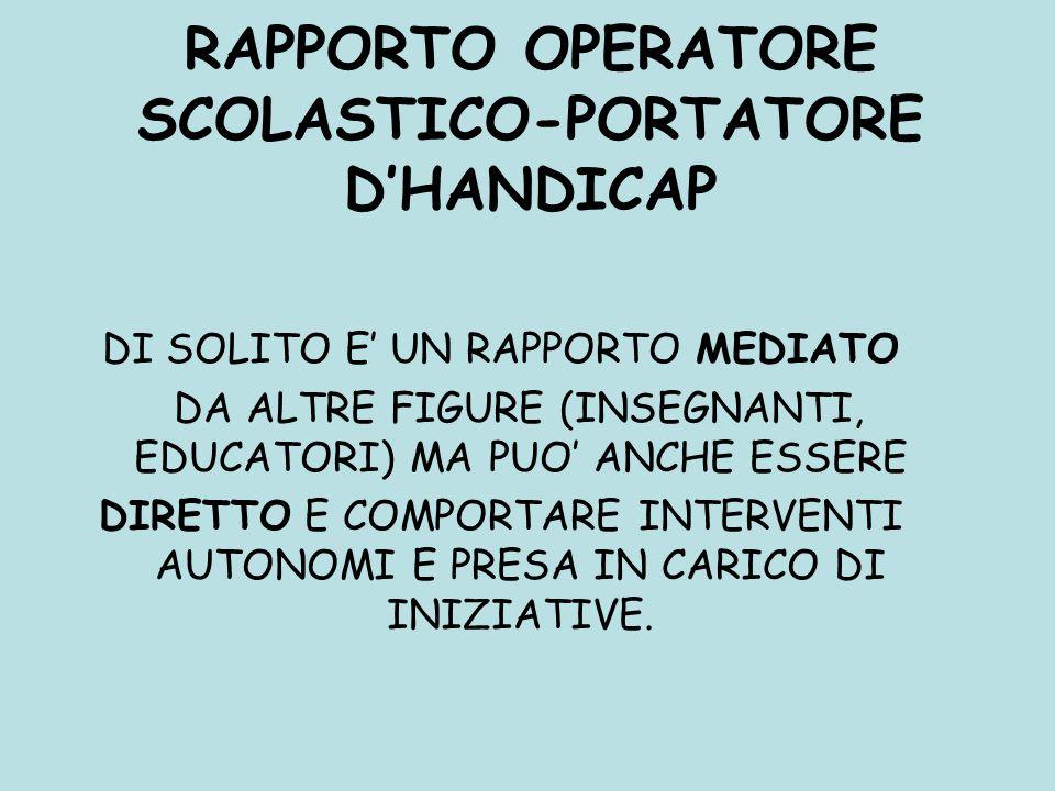 RAPPORTO OPERATORE SCOLASTICO-PORTATORE D'HANDICAP