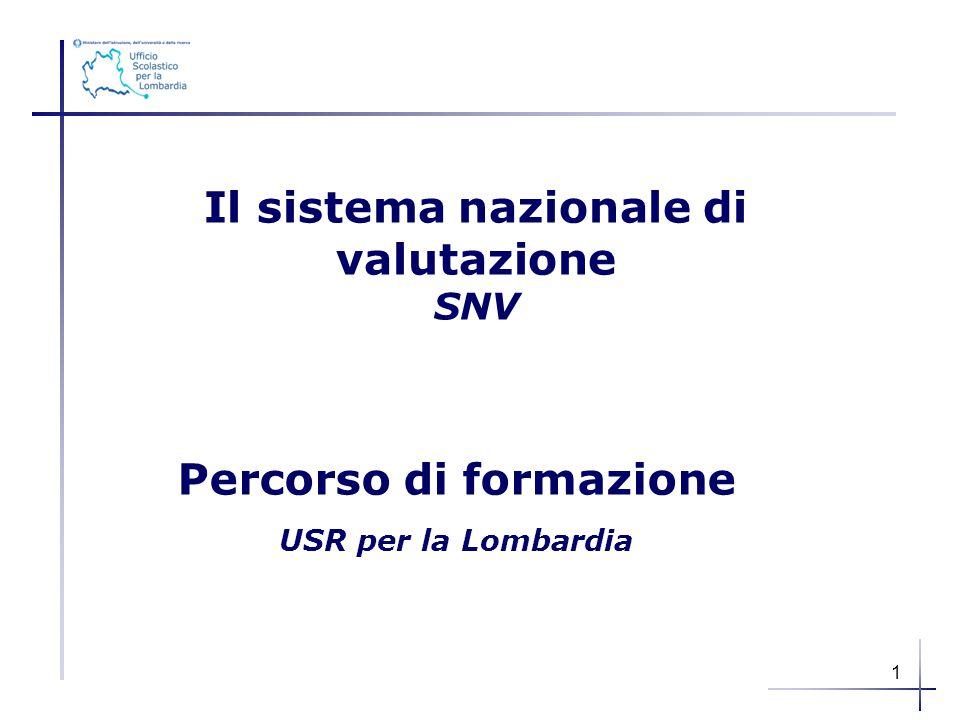 Il sistema nazionale di valutazione SNV Percorso di formazione