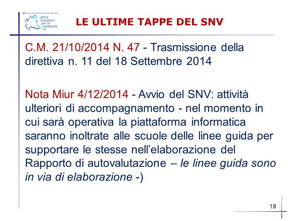 LE ULTIME TAPPE DEL SNV C.M. 21/10/2014 N. 47 - Trasmissione della direttiva n. 11 del 18 Settembre 2014.