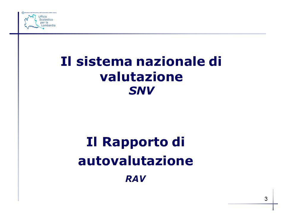 Il sistema nazionale di valutazione SNV Il Rapporto di autovalutazione