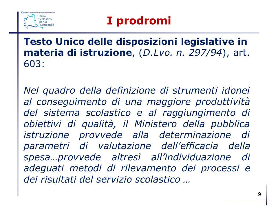 I prodromi Testo Unico delle disposizioni legislative in materia di istruzione, (D.Lvo. n. 297/94), art. 603: