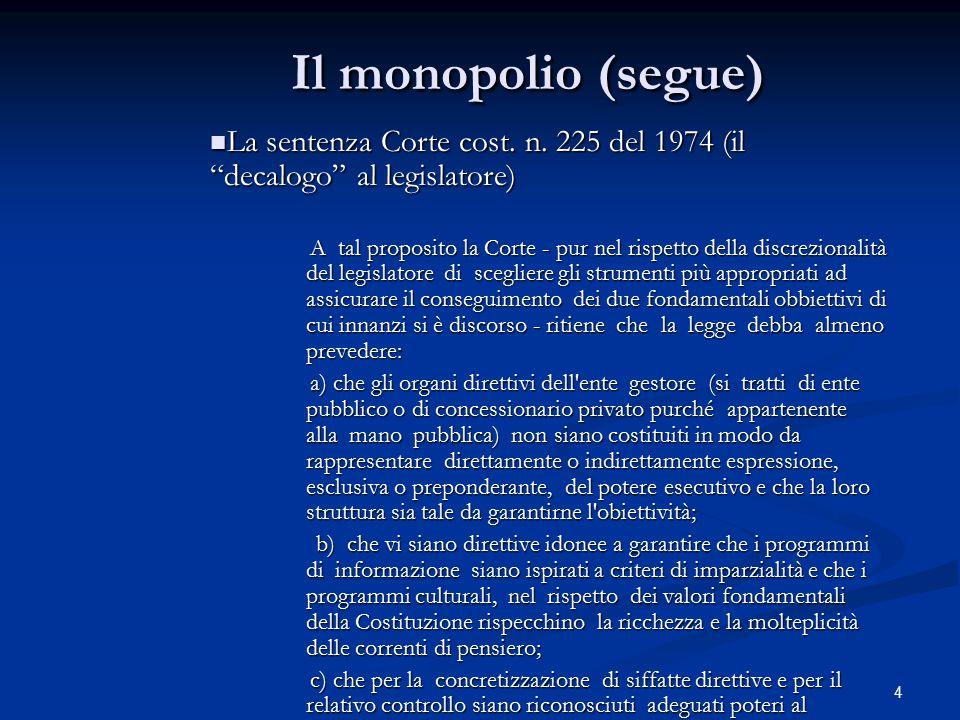 Il monopolio (segue) La sentenza Corte cost. n. 225 del 1974 (il decalogo al legislatore)