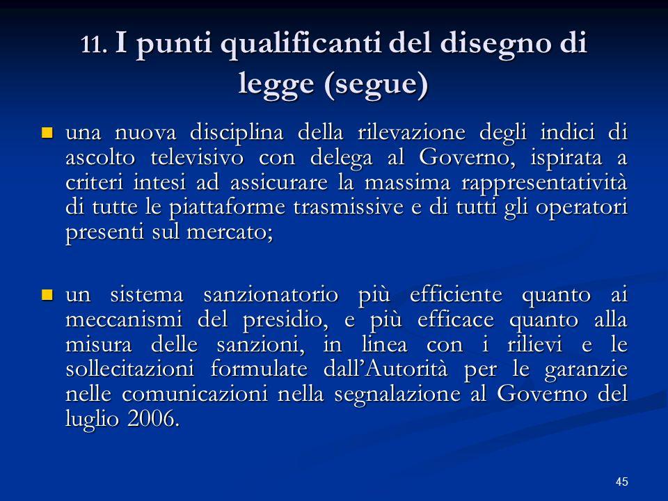 11. I punti qualificanti del disegno di legge (segue)