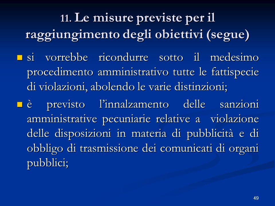 11. Le misure previste per il raggiungimento degli obiettivi (segue)