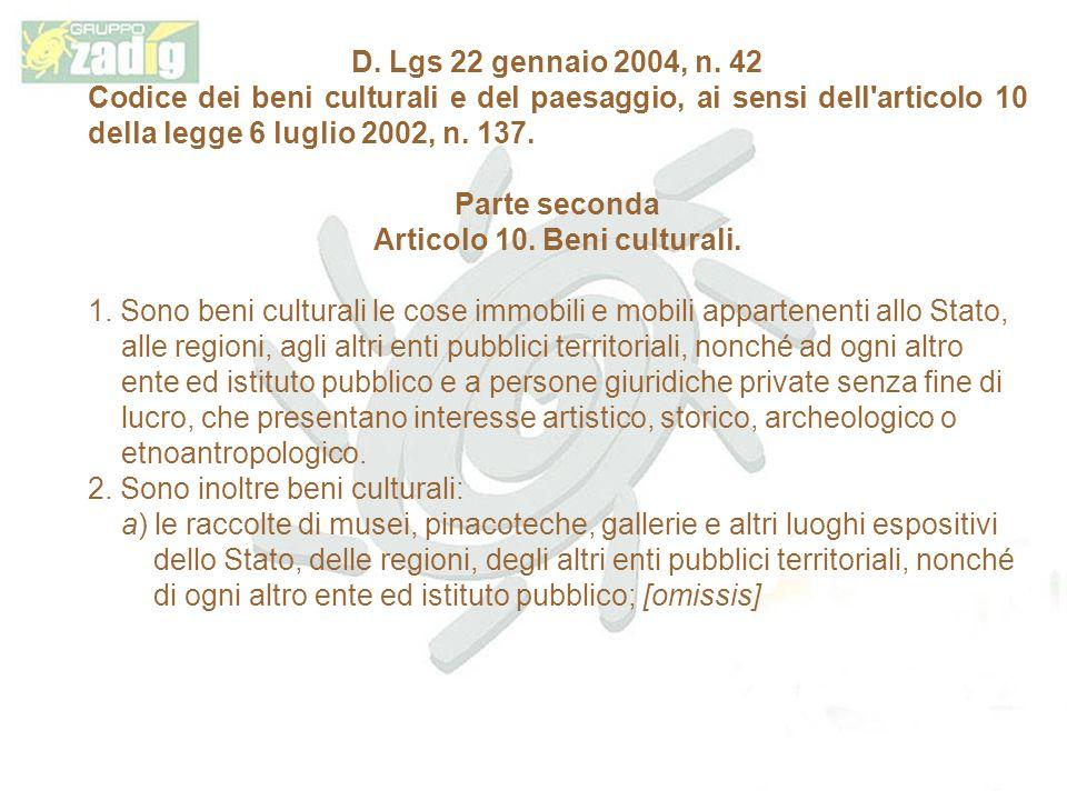 Articolo 10. Beni culturali.