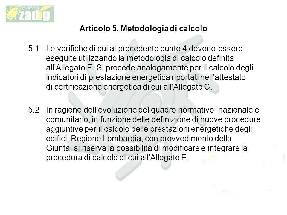 Articolo 5. Metodologia di calcolo