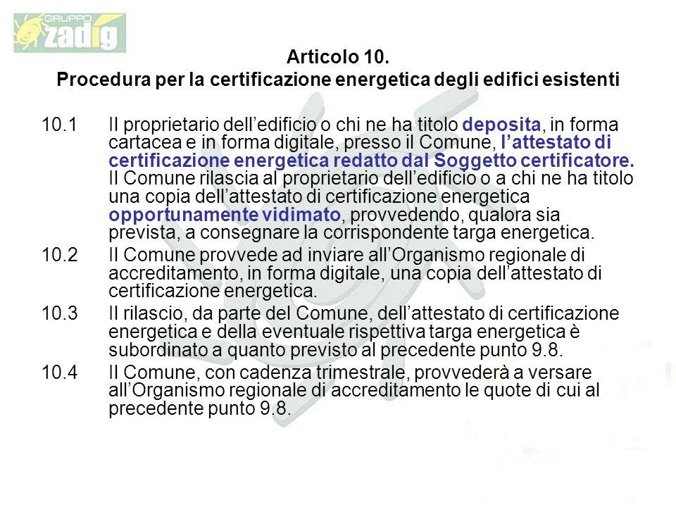 Procedura per la certificazione energetica degli edifici esistenti