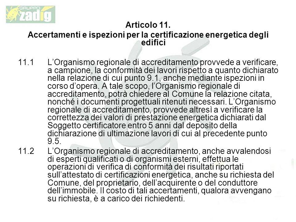 Articolo 11. Accertamenti e ispezioni per la certificazione energetica degli edifici.