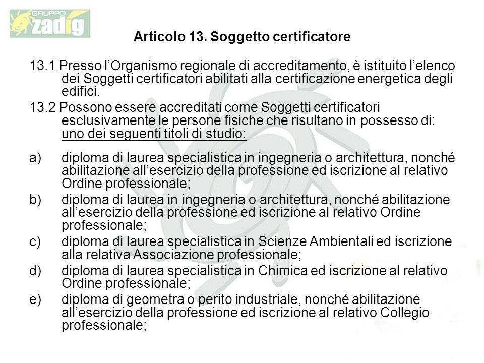 Articolo 13. Soggetto certificatore