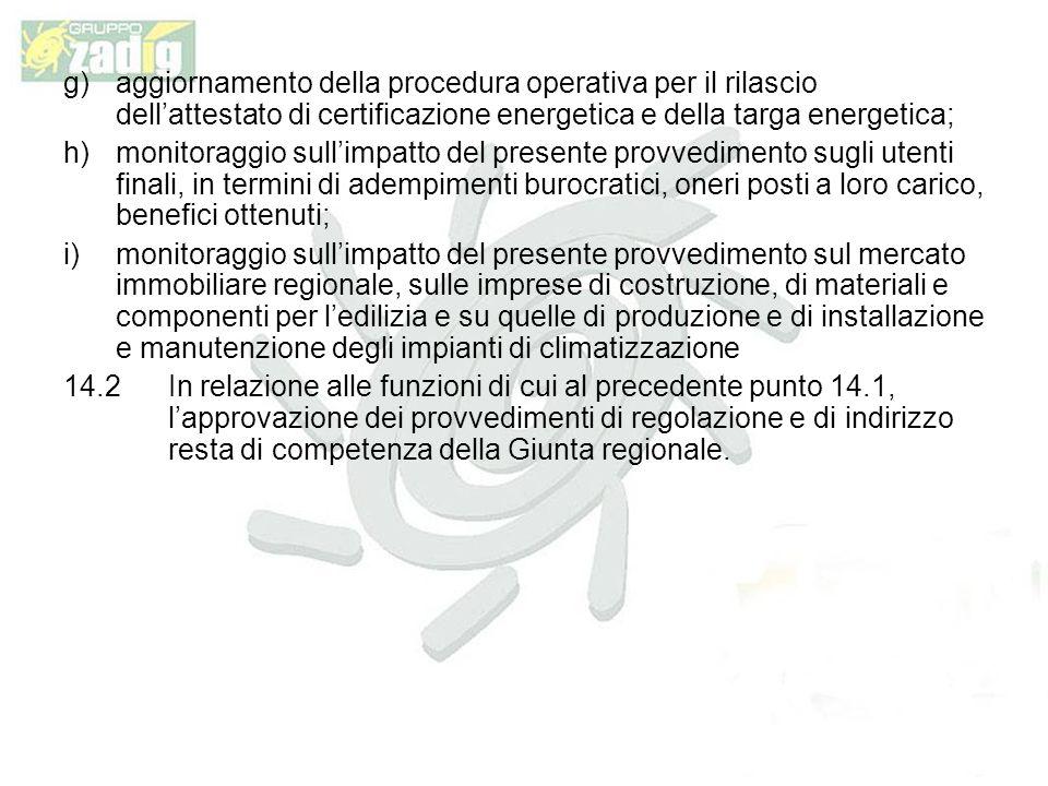 aggiornamento della procedura operativa per il rilascio dell'attestato di certificazione energetica e della targa energetica;