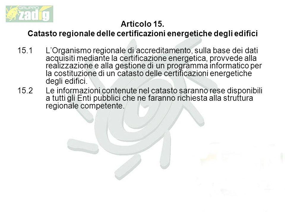 Catasto regionale delle certificazioni energetiche degli edifici