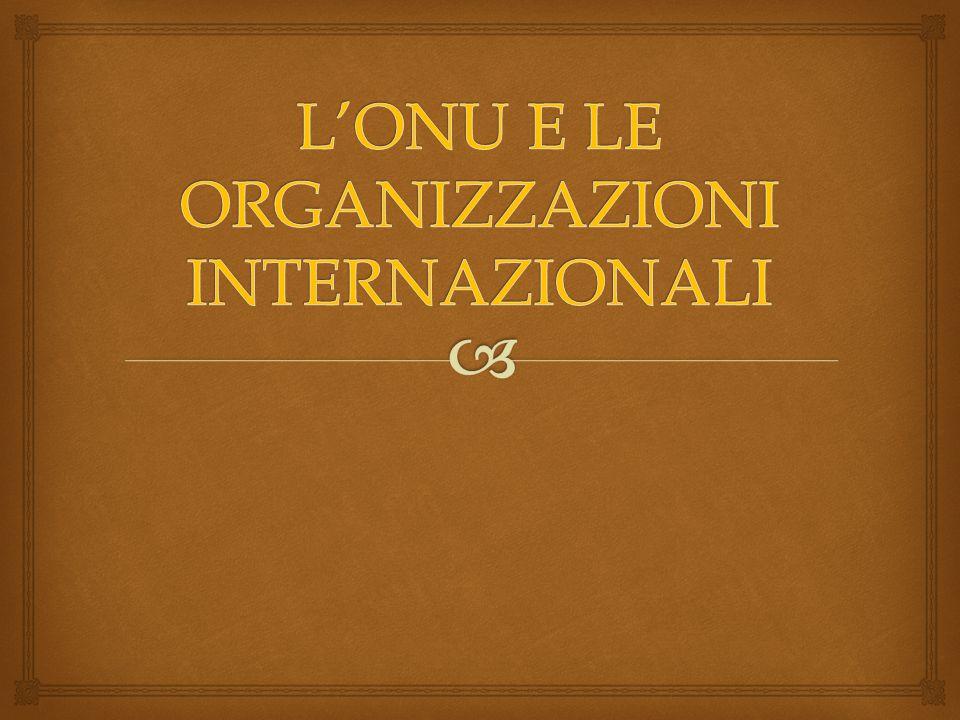 L'ONU E LE ORGANIZZAZIONI INTERNAZIONALI