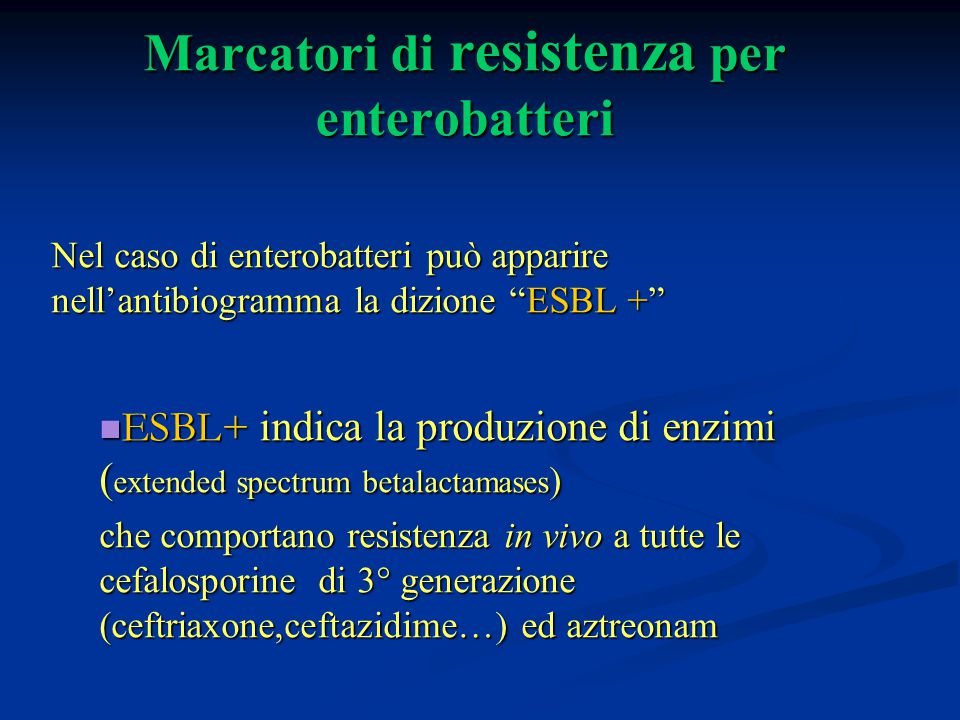 Marcatori di resistenza per enterobatteri