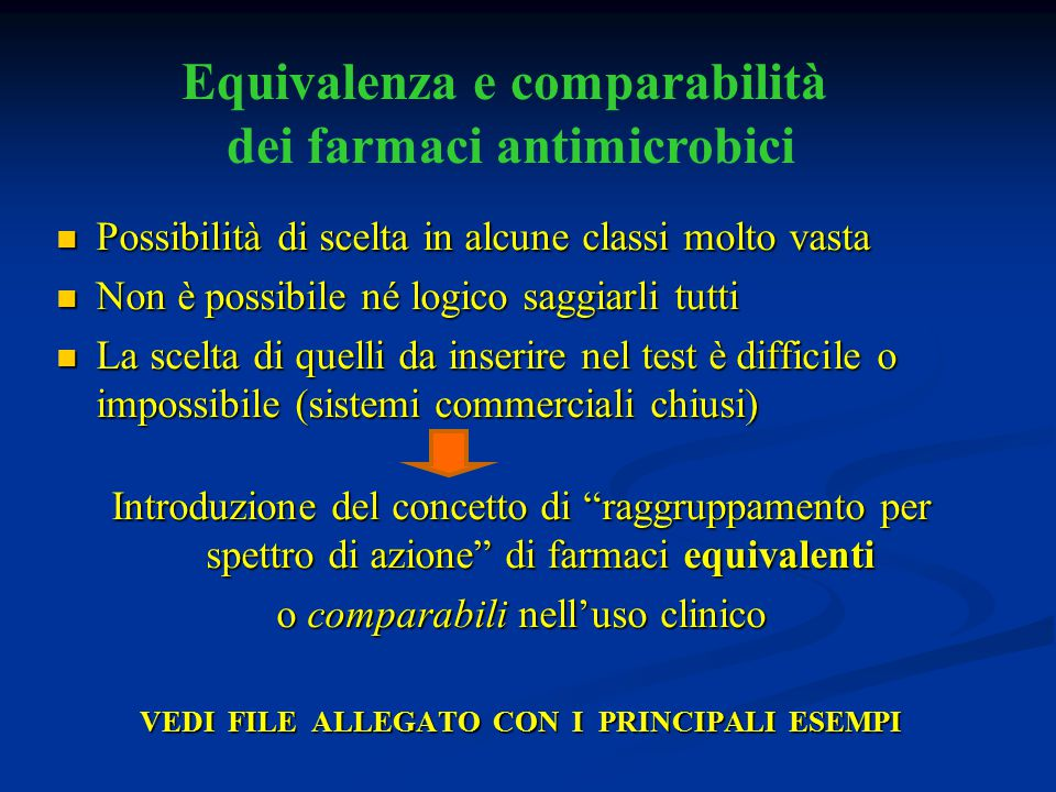 Equivalenza e comparabilità dei farmaci antimicrobici