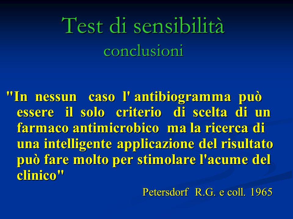 Test di sensibilità conclusioni