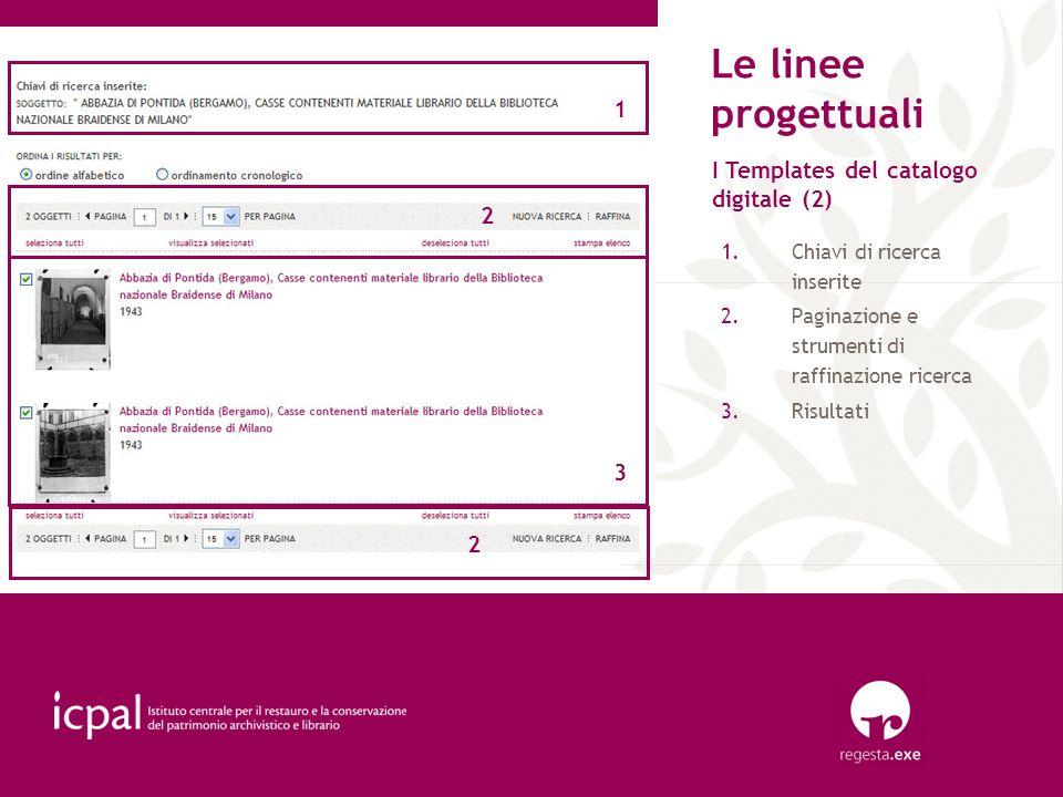 Le linee progettuali 1 I Templates del catalogo digitale (2) 2 3 2