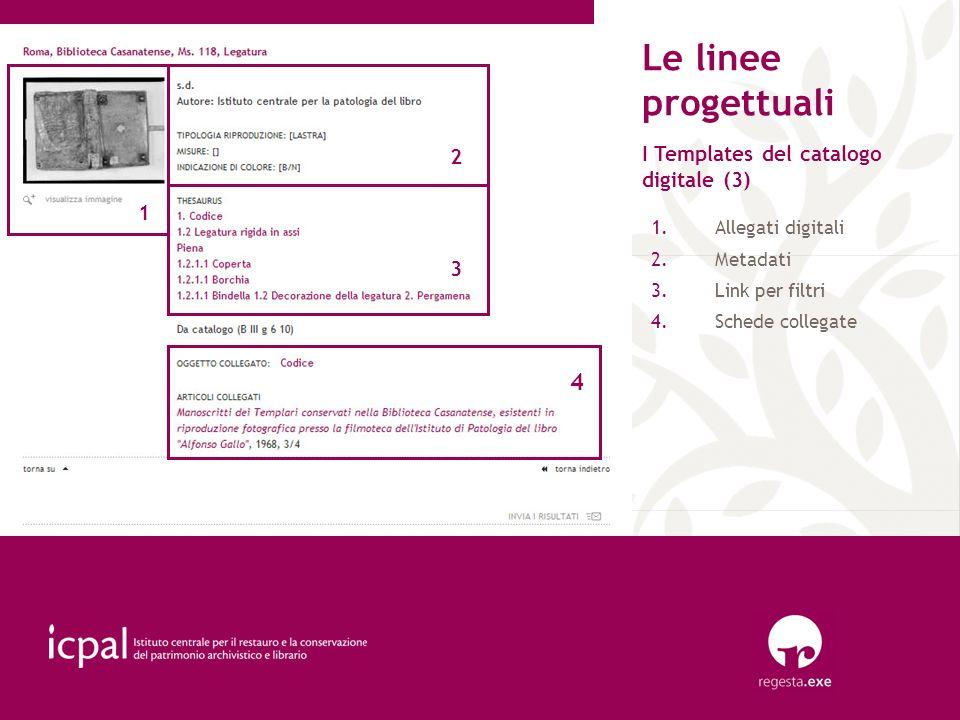 Le linee progettuali 4 2 I Templates del catalogo digitale (3) 1 3