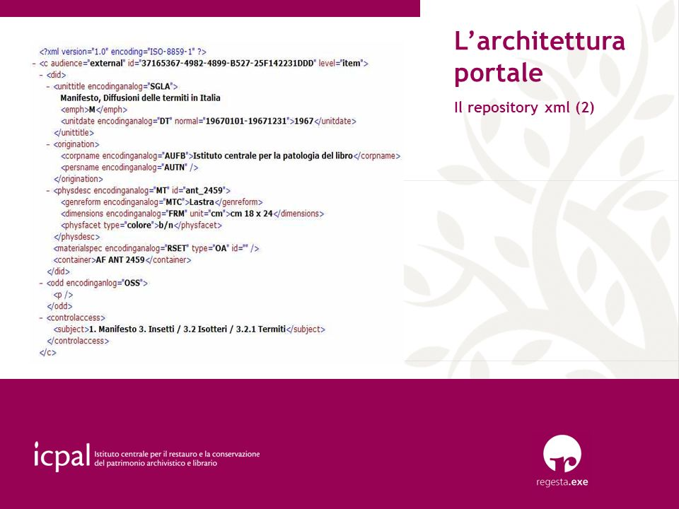 L'architettura portale Il repository xml (2)