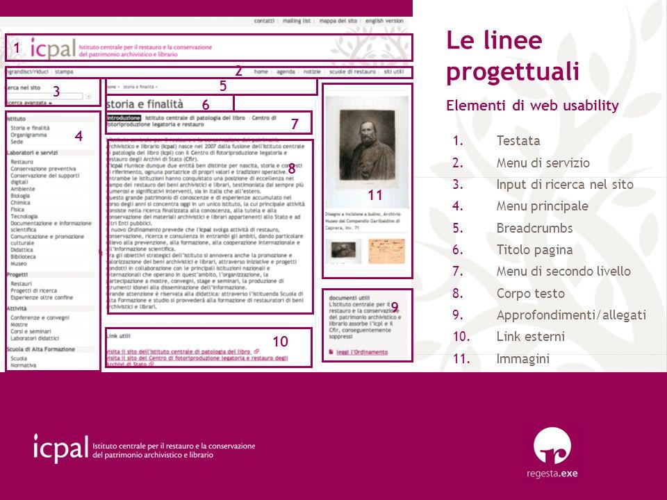 Le linee progettuali 1 2 5 3 6 Elementi di web usability 7 4 8 11 9 10