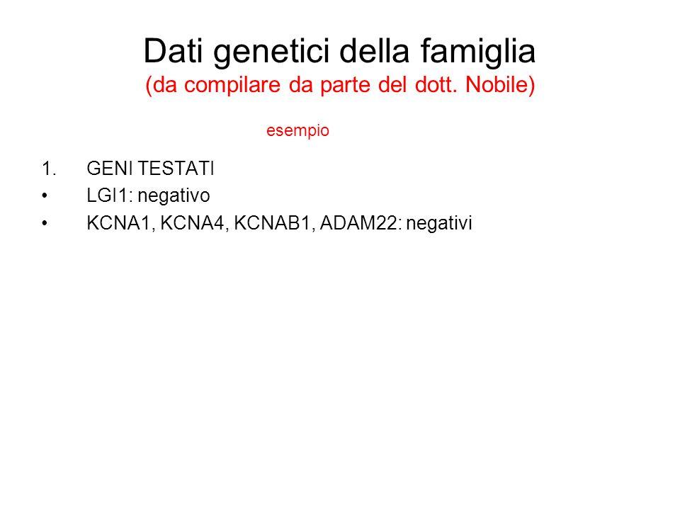 Dati genetici della famiglia (da compilare da parte del dott. Nobile)