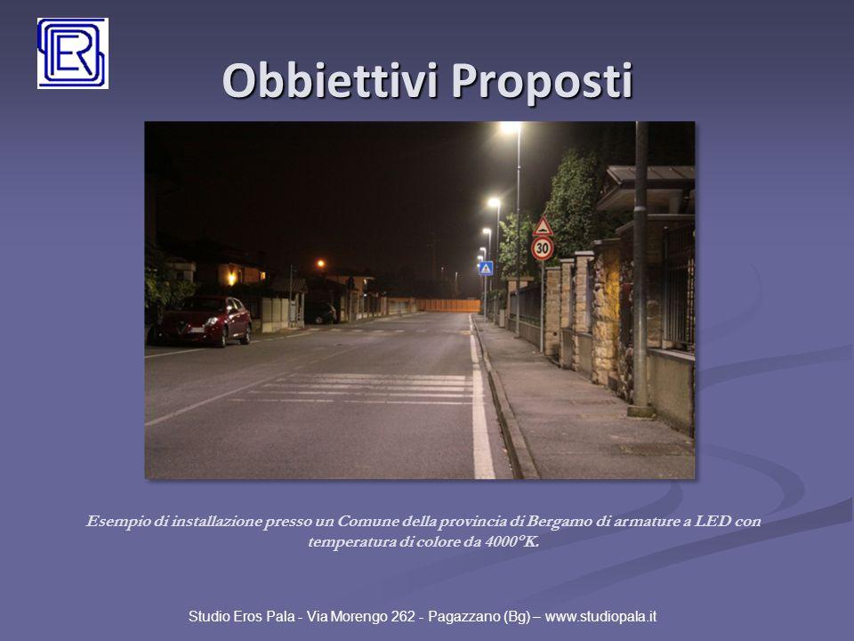 Obbiettivi Proposti Esempio di installazione presso un Comune della provincia di Bergamo di armature a LED con temperatura di colore da 4000°K.