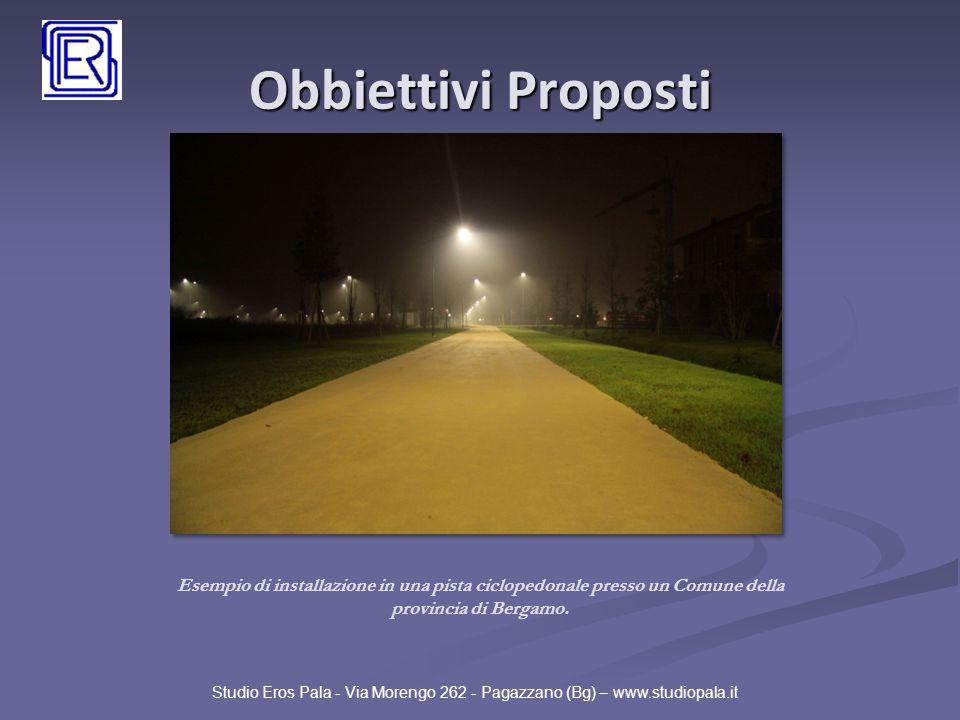 Obbiettivi Proposti Esempio di installazione in una pista ciclopedonale presso un Comune della provincia di Bergamo.
