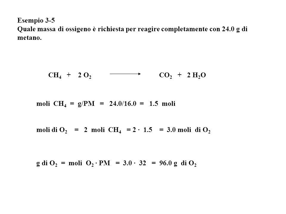 Esempio 3-5 Quale massa di ossigeno è richiesta per reagire completamente con 24.0 g di metano.