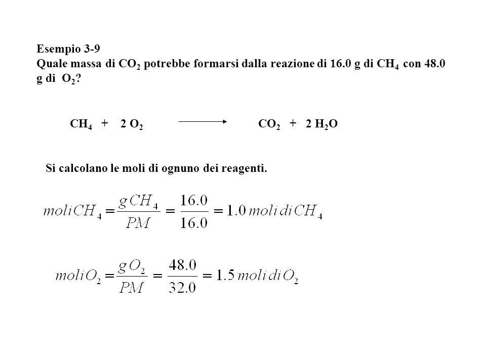 Esempio 3-9 Quale massa di CO2 potrebbe formarsi dalla reazione di 16.0 g di CH4 con 48.0 g di O2