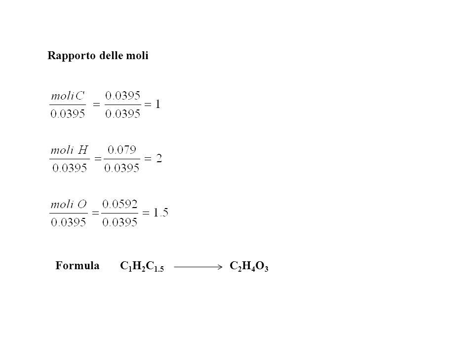 Rapporto delle moli Formula C1H2C1.5 C2H4O3