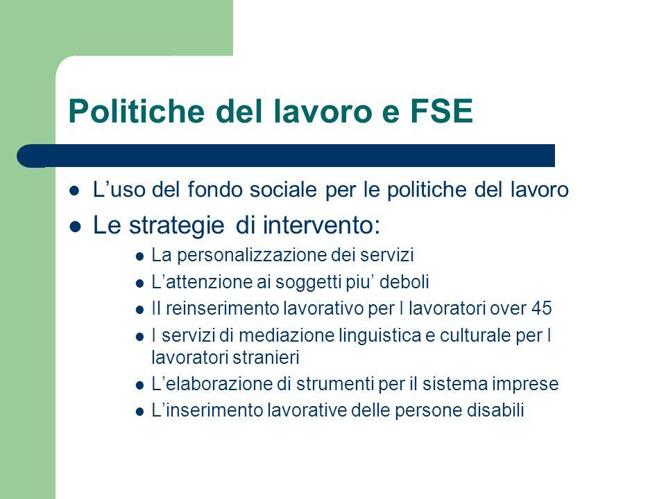 Politiche del lavoro e FSE