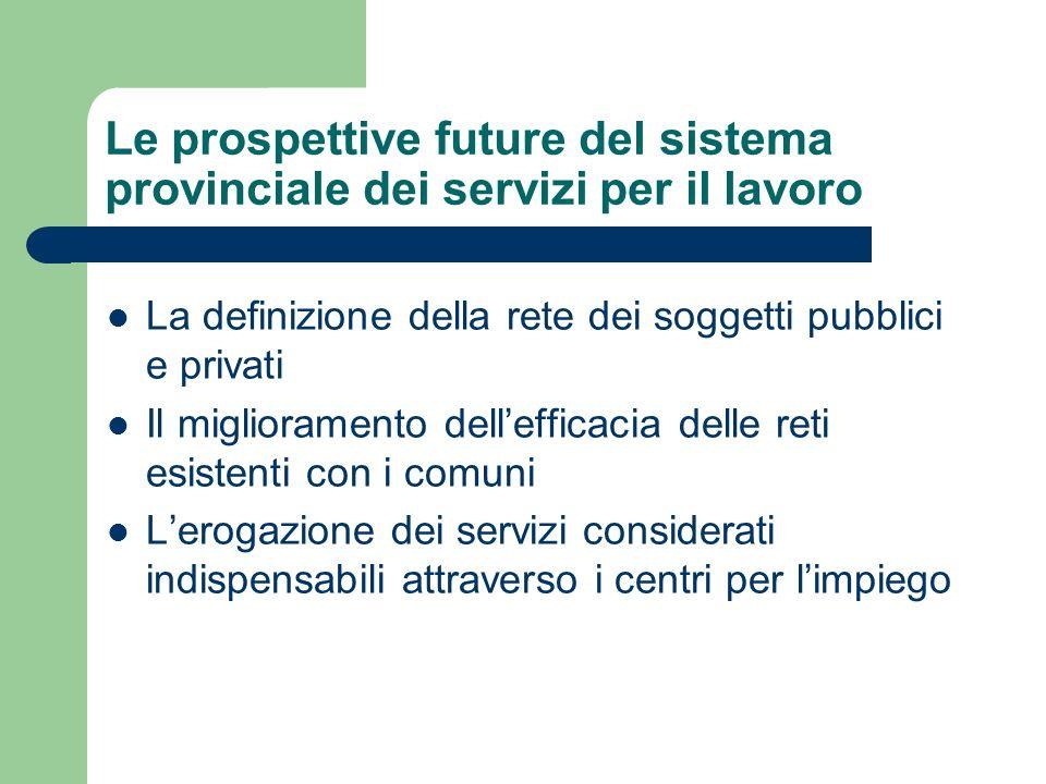 Le prospettive future del sistema provinciale dei servizi per il lavoro