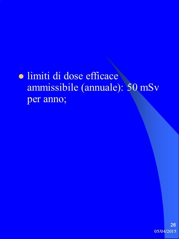 limiti di dose efficace ammissibile (annuale): 50 mSv per anno;